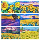 Top Carpenter Flower and Sunset Place Mats Sunflower and Lavender Fields Washable Heat Resistant Polyester Table Mats 12'' x 18'', Set of 6