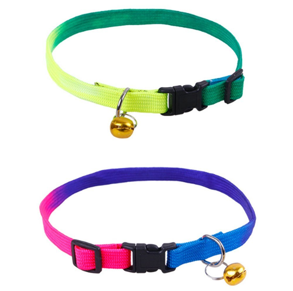 Da.Wa 2 Pcs Pet Cat Small and Medium Size Dog Cat Collar Colorful Bell Necklace Gift