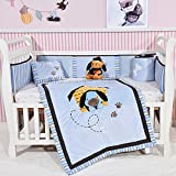 Blue Dog Crib Bedding Set Cotton Crib Bedding Set of 4 PCs