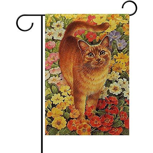 (Starochi Welcome Orange Cats Poppy Flowers Garden Yard Flag 12
