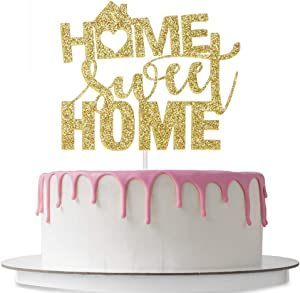 Home Sweet Home Cake Topper, New Home, Welcome Home Sign Cake Decor, House Warming Party Decorations Supplies, Gold Glitter
