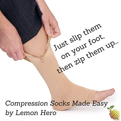 c6e3b61f58 Amazon.com: Zipper Medical Compression Socks With Open Toe - Best Support Zipper  Stocking for Varicose Veins, Edema, Swollen or Sore Legs, (Large, ...