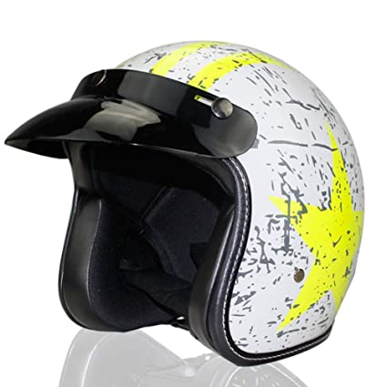 FAFY Medio Casco Retro Moto-Casco Cruiser Vintage Scooter-Casco ,White(yellowstar