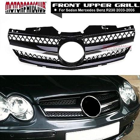 motorfansclub parrilla frontal negro con parrilla cromada para Mercedes Benz R230 03 – 06 Clase SL