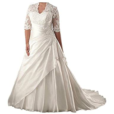 Yingdress Women\'s White Short Sleeves Plus Size Wedding Dresses at ...