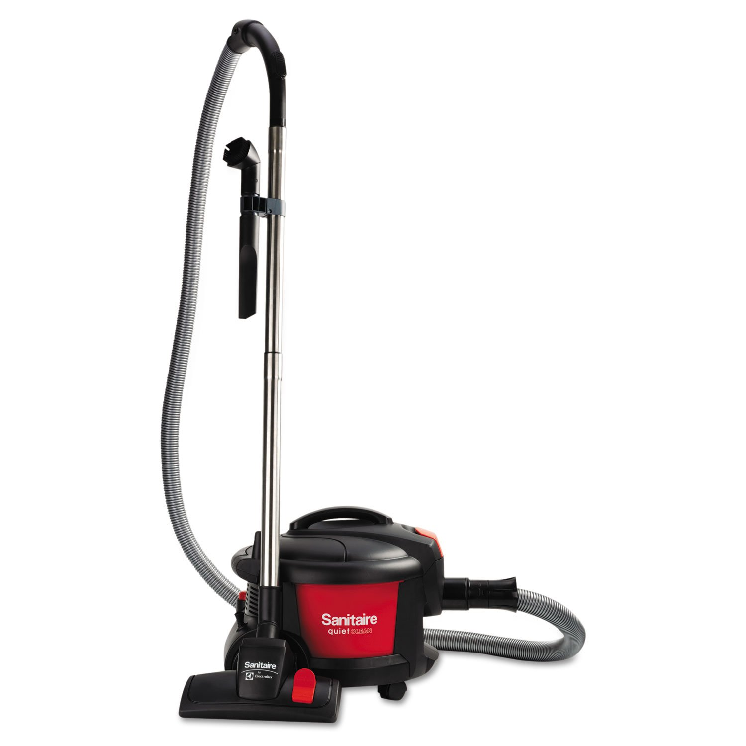"Sanitaire SC3700A Quiet Clean Canister Vacuum, Red/Black, 9.0 Amp, 11"" Cleaning Path."