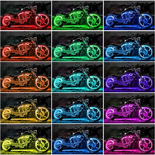 automotive, lights & lighting accessories, accent & off road lighting, led & neon lights,  neon accent lights  discount, RangerRider 12PCS Motorcycle LED Strip Lights kit, Multi-Color Accent Glow Neon Lights Lamp Flexible with Dual IR/RF/Sound Controller for Harley Davidson Honda Kawasaki Suzuki Ducati Polaris KTM BMW promotion1