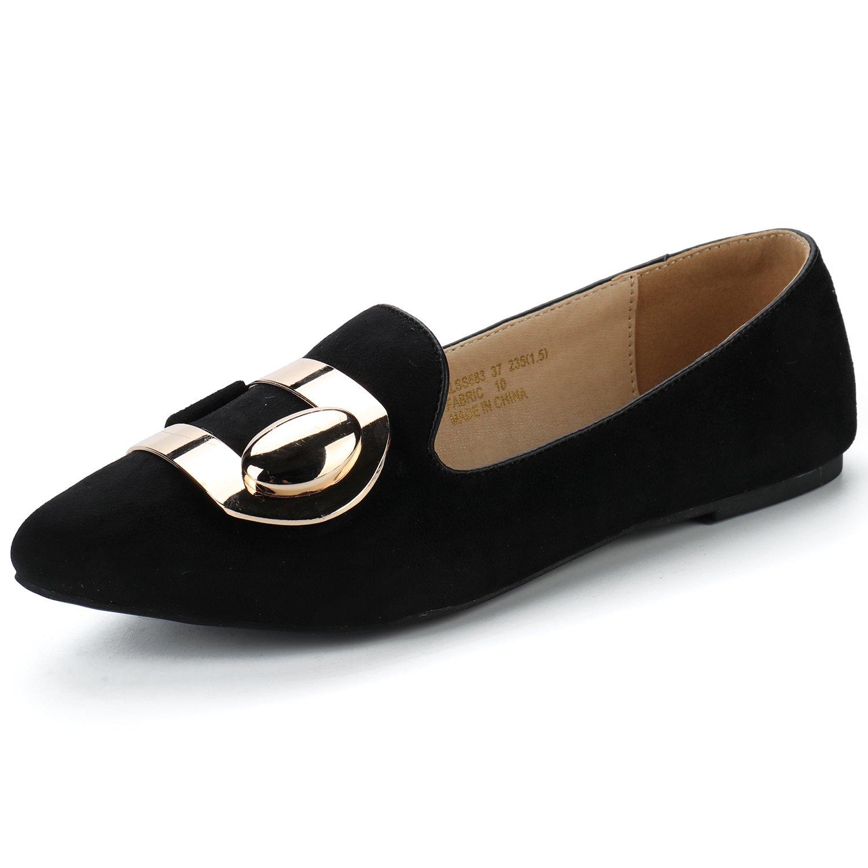 Alexis Leroy Women's Fashion Pointy Toe Ballet Slip On Suede Flats Black 38 M EU/7-7.5 B(M) US