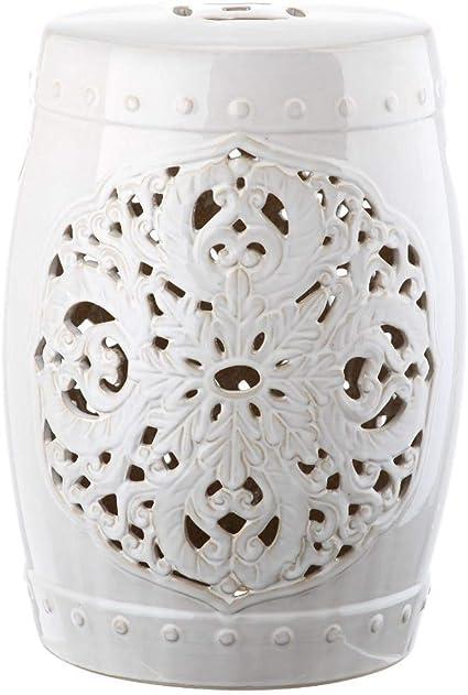 Safavieh Flora Glazed Ceramic Decorative Garden Stool Antique White Home Kitchen