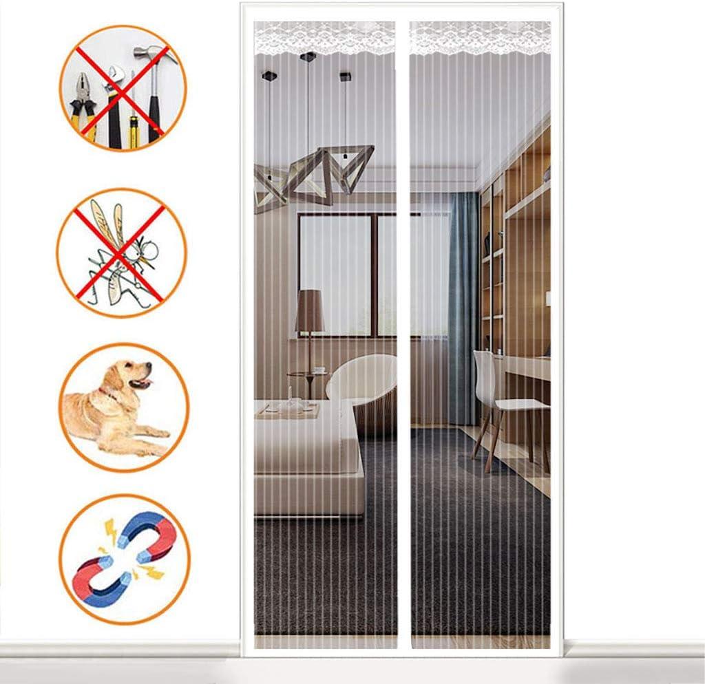 Schlafzimmer Wei/ß f/ür Balkont/ür Insektenschutz Magnetisch Gitter T/üR H/äNde Frei Ohne Bohren K/üche Magnet Fliegengitter T/üR 70x190cm