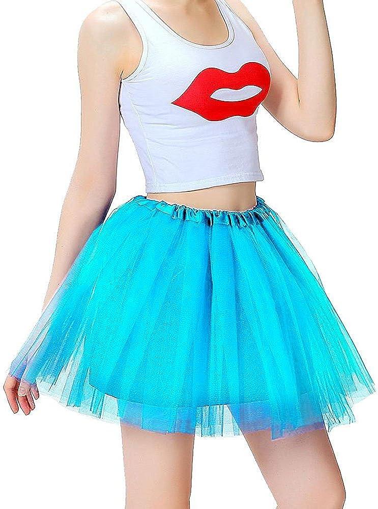 Women's Classic 3-Layered Tulle Tutu Skirt Elastic Ballerina Costume Party Dance Dress