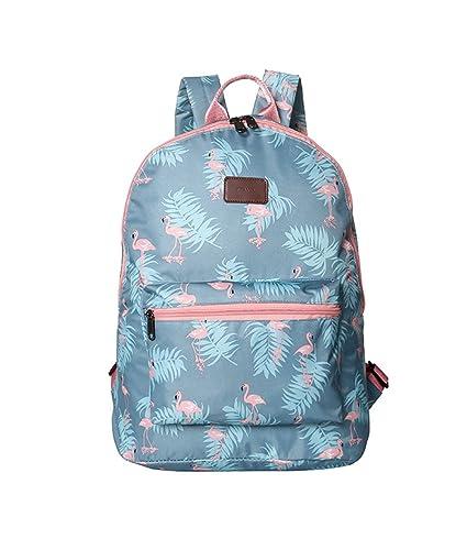 508c645564e23 Boomly Damen Mädchen Flamingos Rucksack Schüler Schulranzen Mode tragbar  Schultertasche Outdoor Reise Handtasche (Blau)