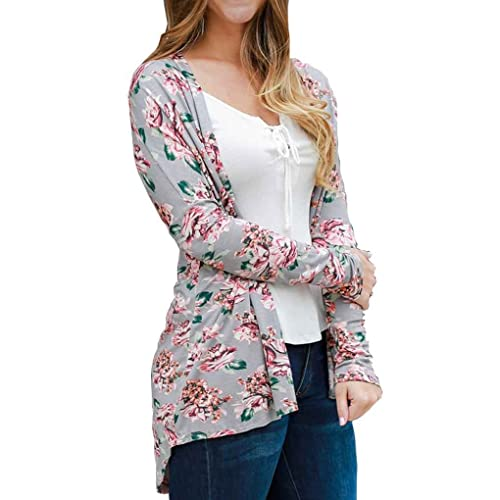 Cardigans Thin Coat Mujeres Floral Camisa De Algodón Elegante Blusa De Impresión De Flores Otoño Loo...