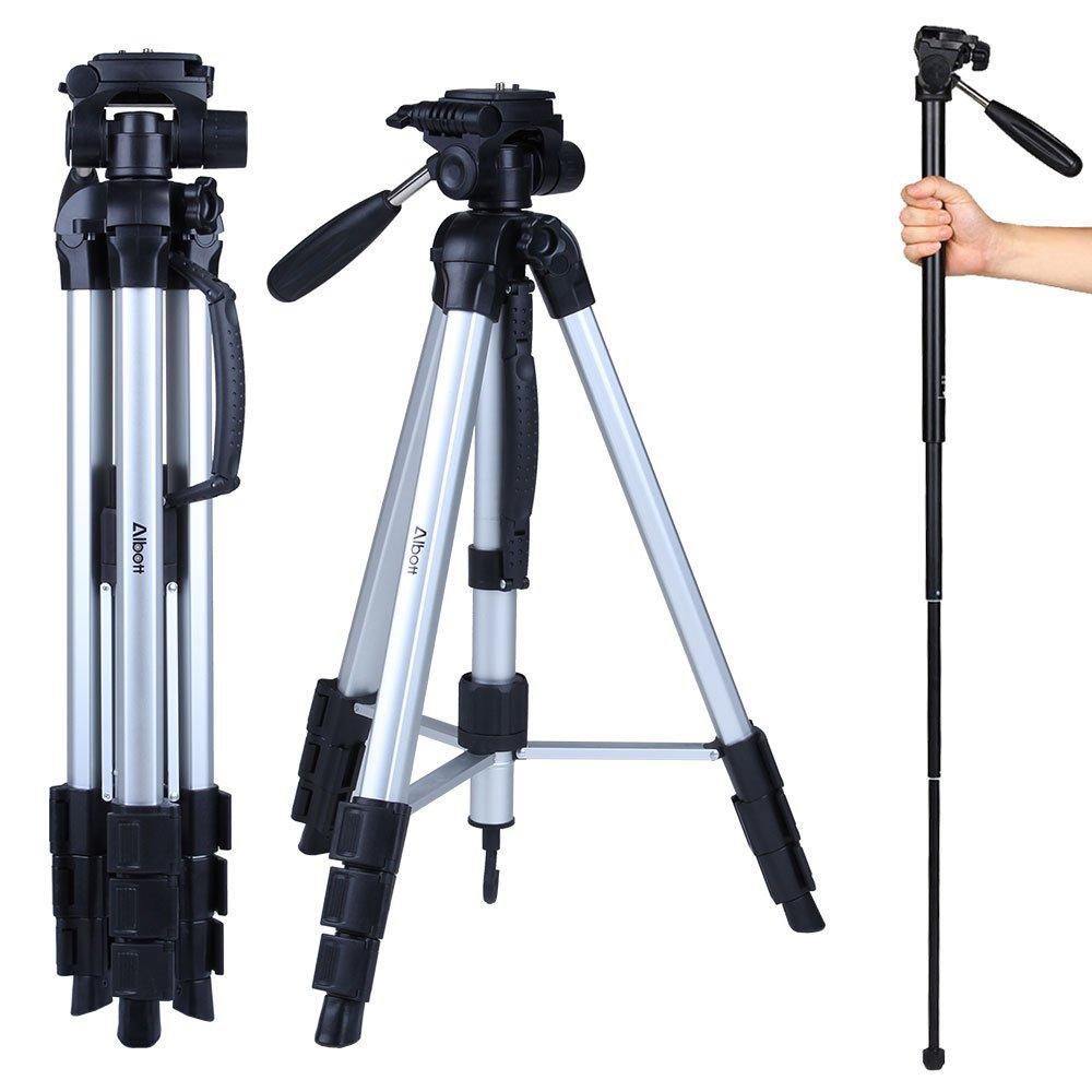 Albott 70'' Travel Portable DSLR Camera Tripod Monopod Flexible Head for Canon Nikon with Carry Bag