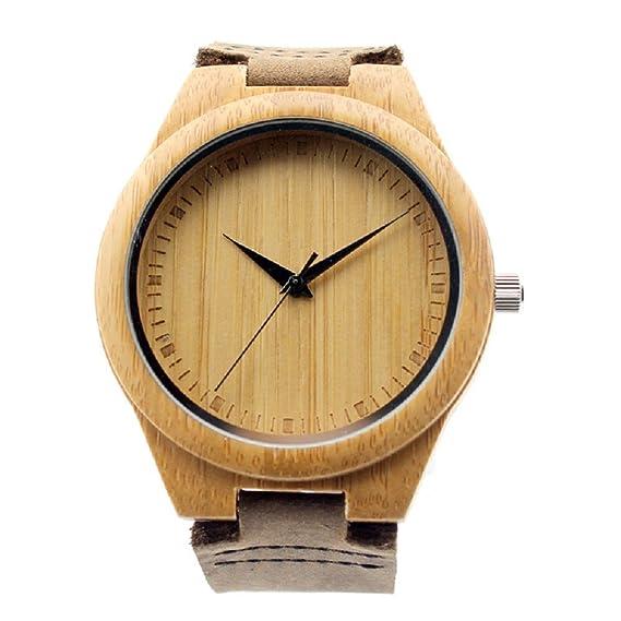 Mercimall BAB-01 hecho a mano de madera natural del reloj unisex con correa japoneses