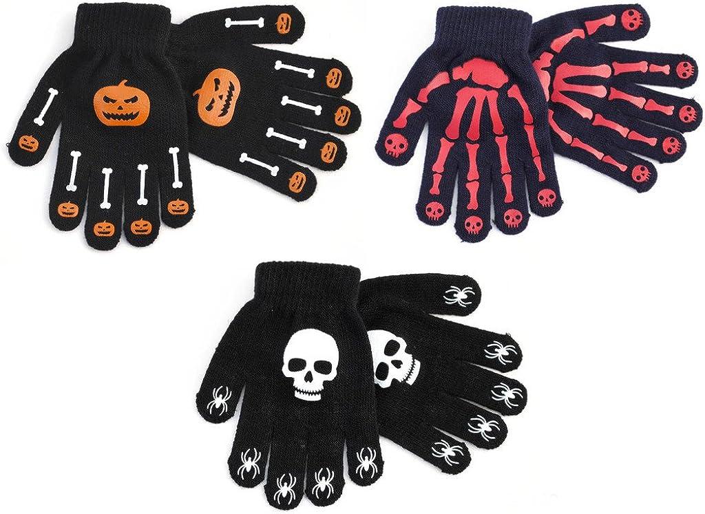 Rjm Boys 3 Pack Skull Design Gripper Gloves