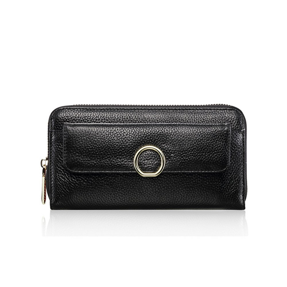 婦人用バッグ本物 レザー牛革クラッチレザーコイン財布レザーハンドバッグレザークラッチブラックピンクファッション ファッション (色 : ブラック) B07MSMT8DJ ブラック