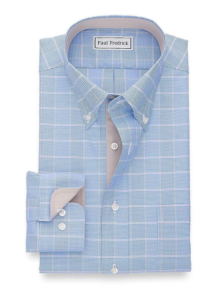 Paul Fredrick Mens Tailored Fit Non-Iron Cotton Glen Plaid Dress Shirt