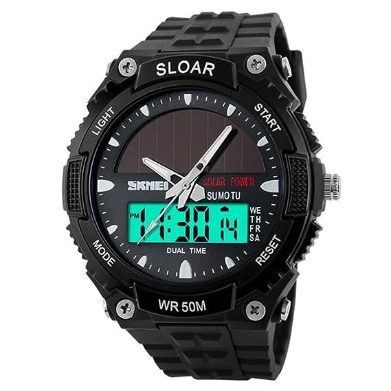 amstt Hombres solar reloj para niños relojes militares 5 Atm resistente al agua analógico Digital al