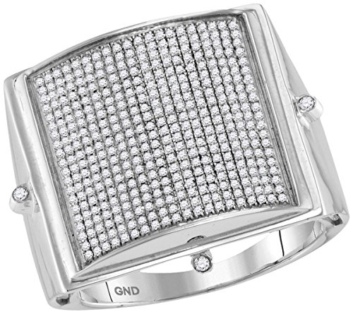 Pave Set Dome Ring (10kt White Gold Mens Round Pave-set Diamond Square Dome Cluster Ring 7/8 Cttw (I2-I3 clarity; J-K color))