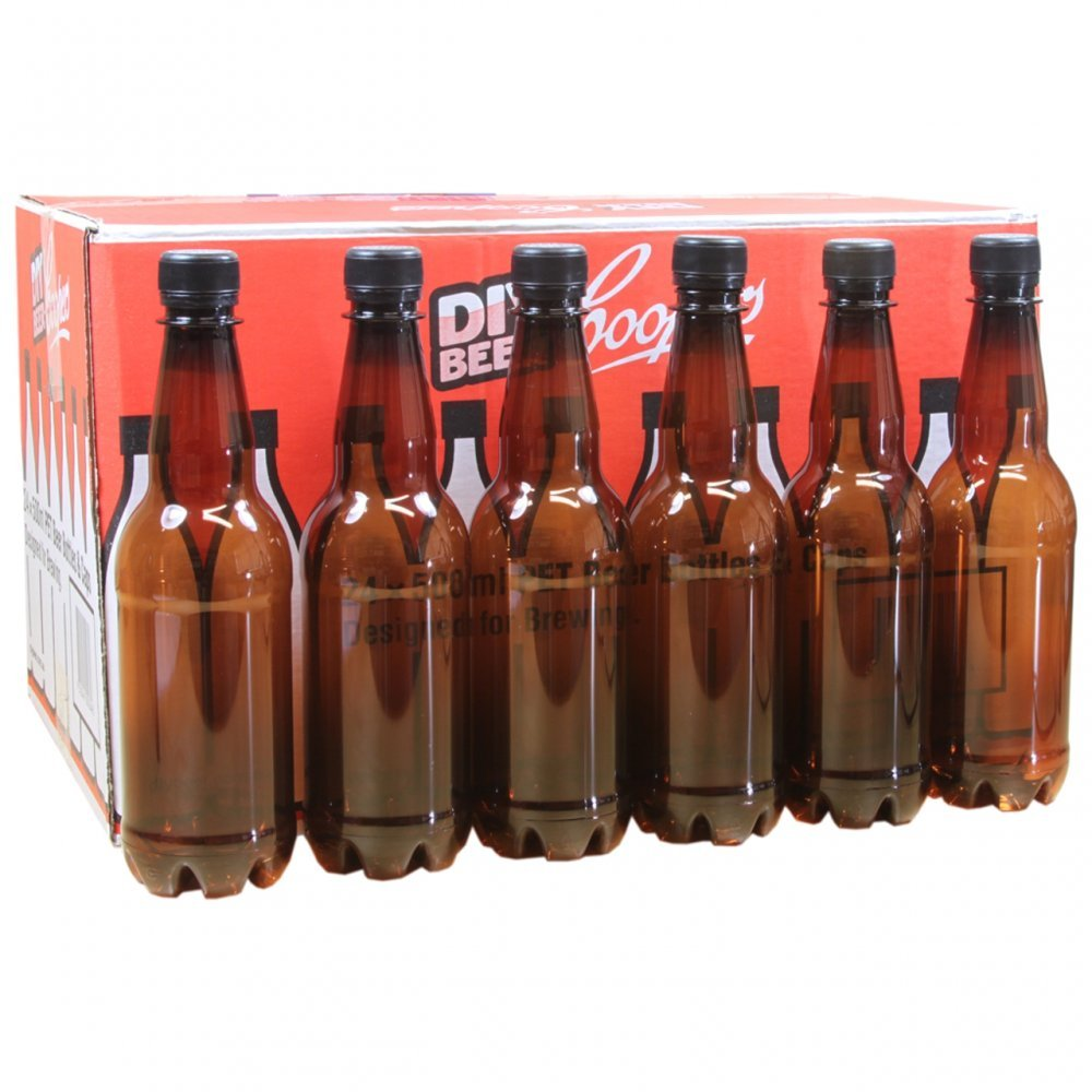 Coopers 500ml Amber PET Plastic Beer Bottles With Screw Caps Pack of 24. Youngs