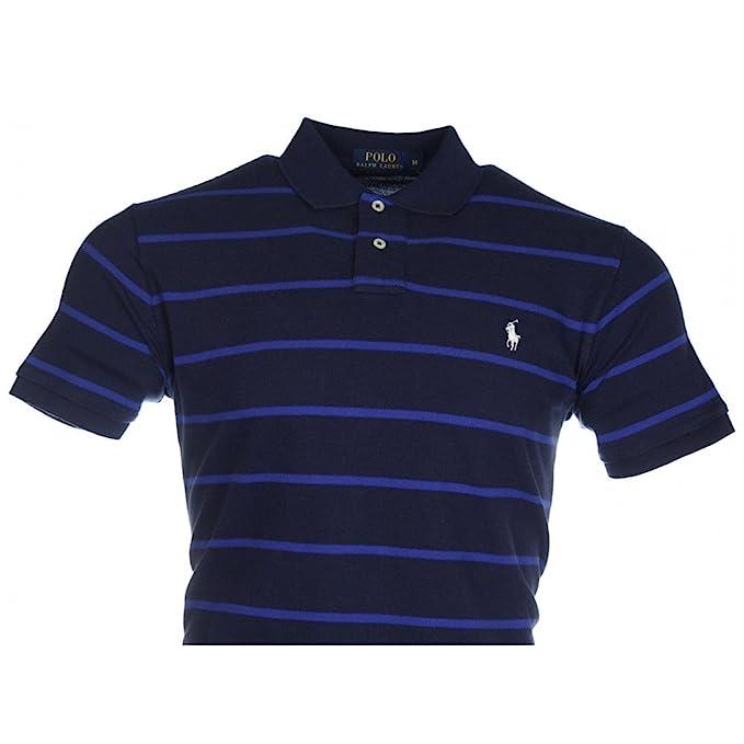 Polo Ralph Lauren Mens Polo Shirt Navy & Blue Stripe Custom Fit:  Amazon.co.uk: Clothing