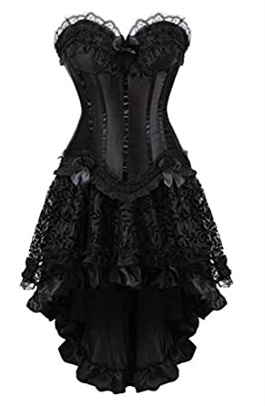 ac830cc77a949 Martya Women s Waist Cincher Lace up Boned Basque Corsets and Steampunk  Gothic Bustiers Dress with Skirt