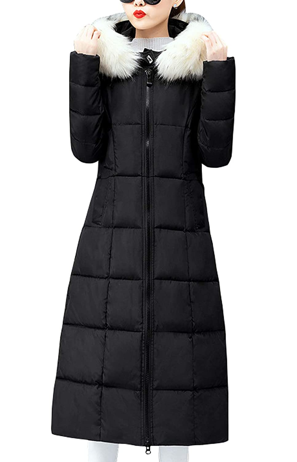 chouyatou Damen Winter Warm Pelz Kapuze Maxi Long Alternative Puffer Daunen Mantel