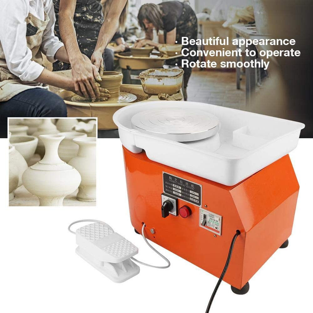 110V 25cm Pottery Wheel Electric Pottery Forming Machine DIY Pottery Design Clay Craft Foot Pedal Control for Ceramic Work(Home,School,Child,Adult)