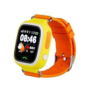 Q90 Reloj Inteligente Ni?os SOS Despertador GPS WIFI Bluetooth Anti-perdida Tarjeta SIM Para Ni?os Relojes Inteligentes TelšŠfono de Regalo, Orange: ...