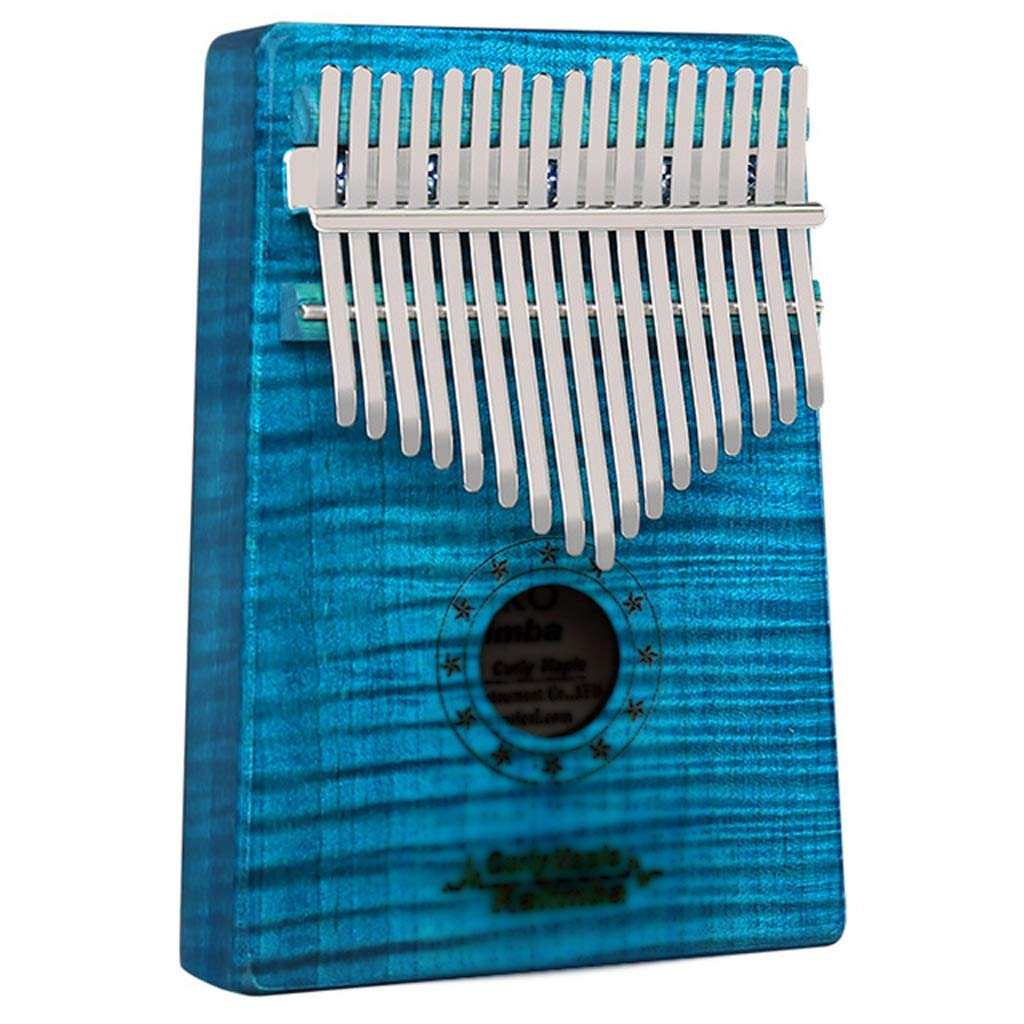 Zyj 17-Key Thumb Piano Curly Maple Ore Rebar Kalimba with Tuning Hammer Learning Guide Song Book Finger Piano Beginner