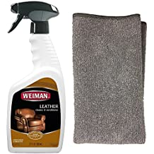 Weiman Leather Cleaner and Polish With Microfiber Cloth - Clean and Condition Car Seats, Shoes, Couches and More - 22 Fluid Ounces