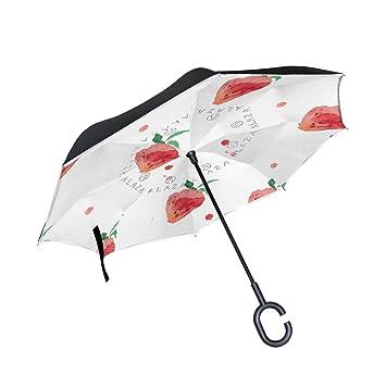 BENNIGIRY - Paraguas Reversible de Fresa de Doble Capa invertido, Plegable, Resistente al Viento