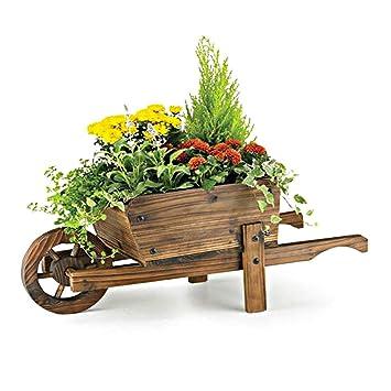 Pflanzschubkarre Holz Garten Holzschubkarre Schubkarre Pflanztrog Blumenkübel