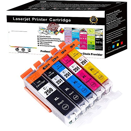 Wolfgray 5 packs Compatible Ink Cartridge PGI-250XL CLI-251XL 250xl 251xl Works for PIXMA MX922 MG5522 MG5620 MG6620 MG6600 MX920 iX6820 iP7220 (1Large - Usps Day 1 Delivery