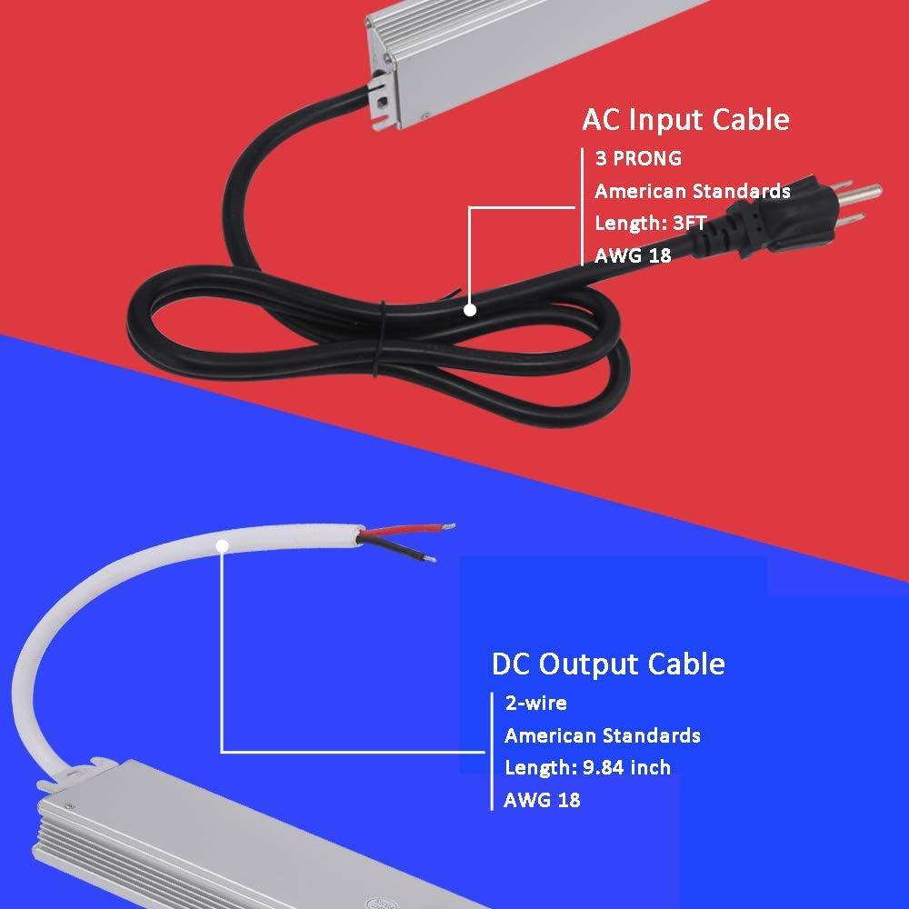 3 Prong AC Plug Ultra Thin LED Driver 12V IP67 Waterproof 120V 277V to 12V Power Supply 12V DC Power Adapter,12V LED Transformer 12 Volt LED Power Supply