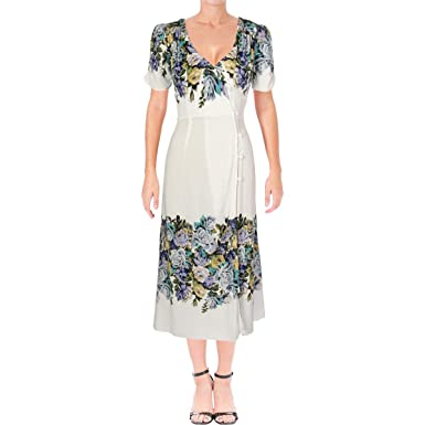 cb6589e84906 Image Unavailable. Image not available for. Color: Free People Womens  Jaimie Floral Print Short Sleeves Midi Dress ...