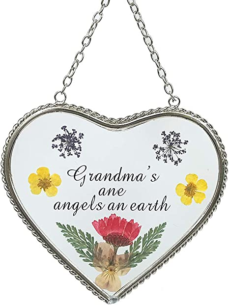 Angel Sun Catcher with Grandma Engraved on Heart Charm Dried and Pressed Flower Window Ornament BANBERRY DESIGNS Grandmother Suncatcher Nana Gifts
