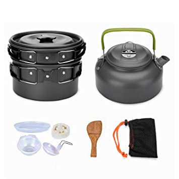 Outdoor Tablewares Portable Outdoor Cookware Aluminum Non-stick Pot Cooking Frying Pan Camping Picnic Hiking Utensils With Carry Bag Big Size Elegant In Style