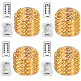 4 Pack Fairy String Lights, Battery Operated Waterproof 8 Modes Remote Control 50 Led 16.4ft Indoor Lights Copper Wire Twinkle Lights for Bedroom Wedding Party Dinner Festival Decor (Warm White)