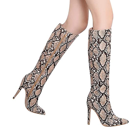 cd032f439c6 Amazon.com  Fainosmny Women Boots Knee High Boots Snakeskin High Heels  Christmas Women Shoes Sexy Nightclub Stage Boots Warm Snow Boots  Clothing
