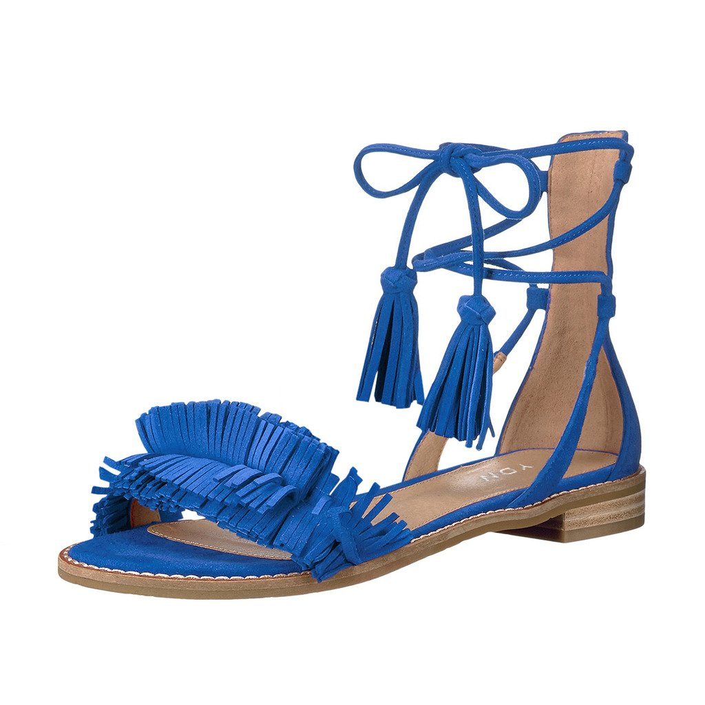 YDN Women's Stacked Low Heels Fringes Sandals Open Toe Flats Lace up Night Club Shoes B073W6WP8F 13 B(M) US Blue