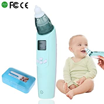 Baby Nasal Aspirator Electric Safe Hygienic Nose Cleaner Nose Cleaner Snot Sucker for Newborns Infant Toddlers Battery Operated by Berrcom