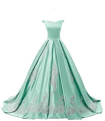 Beilite Off Shoulder Satin Prom Ball Gown Quinceanera Dresses Aqua 2
