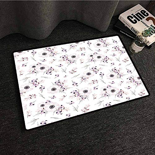 Diycon Entrance Door Mat Anemone Flower Shabby Chic Spring Pattern Blossoming Bridal Bouquets Romantic Vacuuming and Durable,W16 xL24,Baby Pink Lilac Purple ()