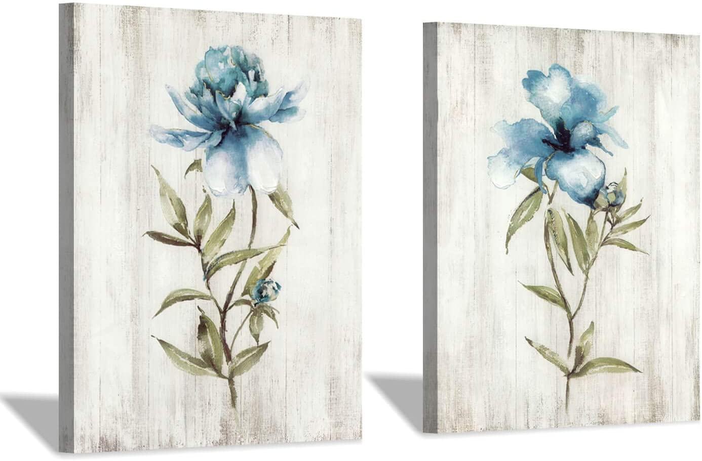 Blue Flower Canvas Wall Art: Botanical Floral Artwork Wildflower Picture Painting for Bedroom (24'' x 18'' x 2 Panels)