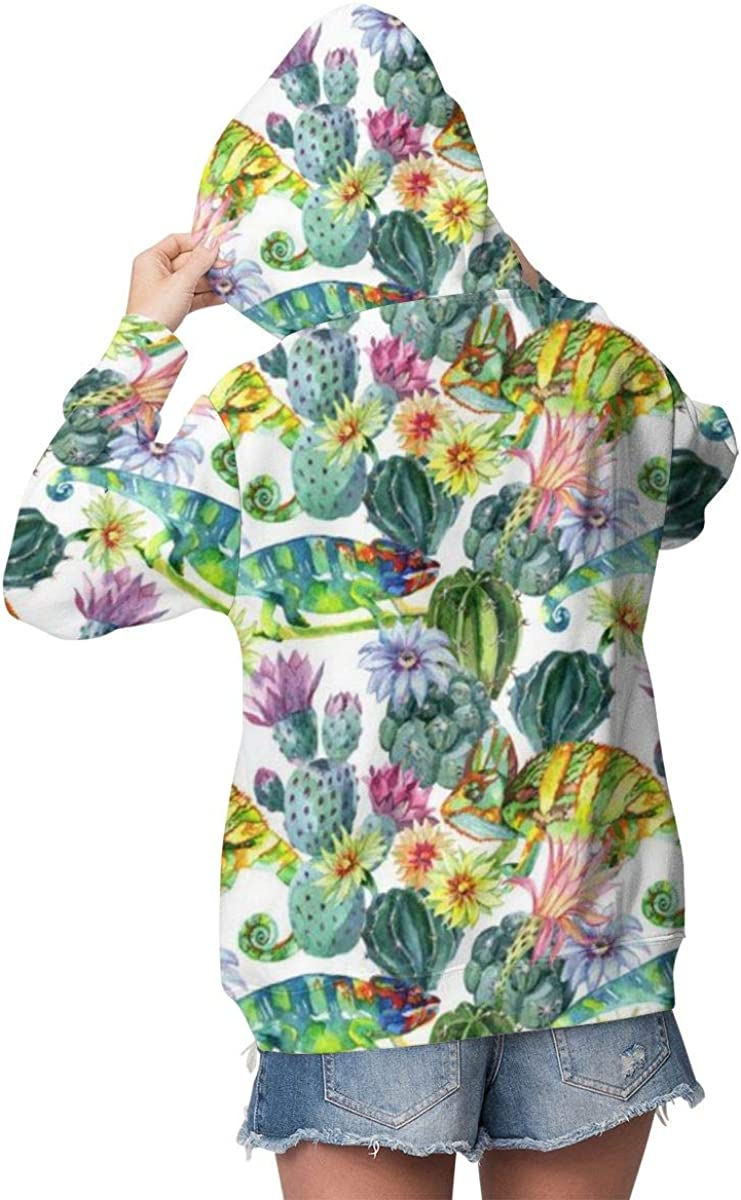 Womens Hoodie Watercolor Cactuses Chameleons Pullover Long Sleeve Comfortable Lightweight Sweatshirt with Pocket