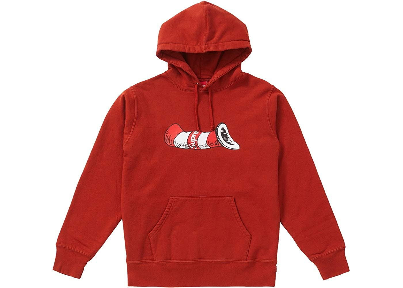 Amazon.com  SupremeNewYork Supreme Cat in The Hat Hoodie Hooded Sweatshirt  Red FW18 100% Authentic Real -Designer Sold Out Rare-  Clothing 7c04f5497f01