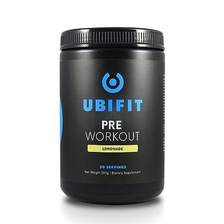 Ubifit Nutrition Pre-Workout Supplement Safe, Natural Energy Drink – Focus, Endurance, Strength Nitric Oxide Booster – Caffeine Beta-Alanine – Sugar Free, 0 Calorie, Lemonade – 20 Servings