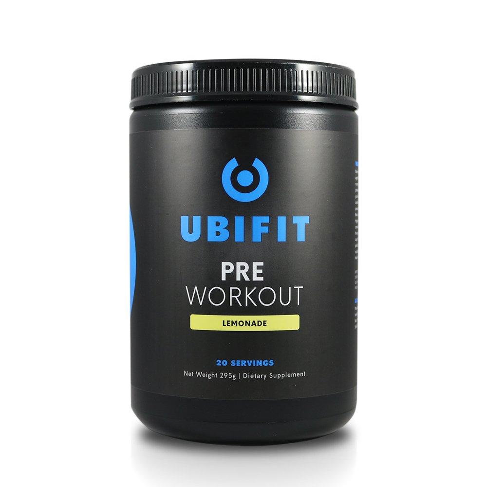 UBIFIT - Safe, Natural, Effective Pre Workout Supplement - Focus, Energy, Endurance - All Natural Flavors & Sweeteners - Lemonade - 20 Servings Powder